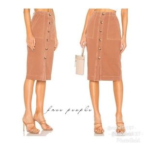 Free People Utility Button Up Cotton Skirt Size 2
